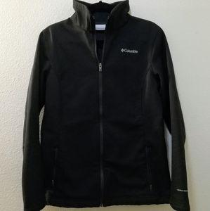 Columbia Black Soft Shell Fleece Zip Jacket Sz L